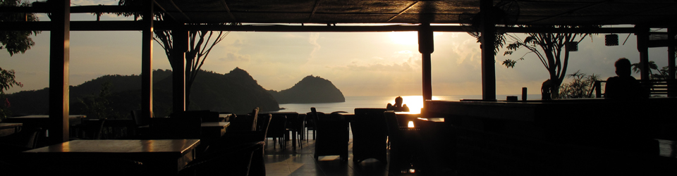 Sunset over Labuan Bajo at a nearby restaurant